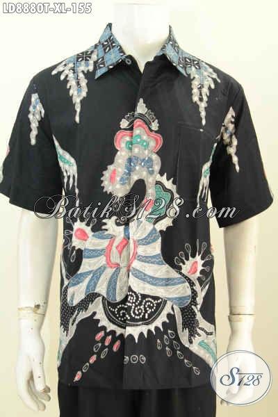 Hem Batik Pria Dewasa, Kemeja Lengan Pendek Size XL Bahan Halus Motif Unik Kwalitas Istimewa, Tampil Gaya Dan Gagah