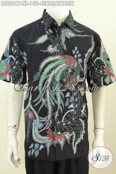 Baju Batik Pria Keren, Hadir Dengan Desain Modis Motif Burung Cendrawasih Lengan Pendek, Pas Buat Hangout Dan Kerja [LD8881T-XL]