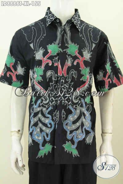 Baju Kemeja Batik Tulis Motif Bagus Model Lengan Pendek, Hem Batik Istimewa Untuk Penampilan Lebih Gagah Mempesona, Size XL