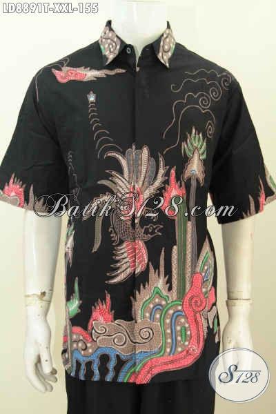 Jual Baju Batik Pria Jumbo, Kemeja Lengan Pendek Keren Proses Tulis Dasar Hitam Motif Bagus, Bikin Penampilan Lebih Trendy [LD8891T-XXL]
