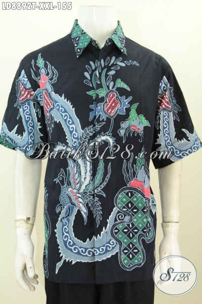 Baju Batik Pria Ukuran Besar, Hem Batik 3L Halus Lengan Pendek Motif Bagus Proses Tulis Hanya 155K [LD8892T-XXL]