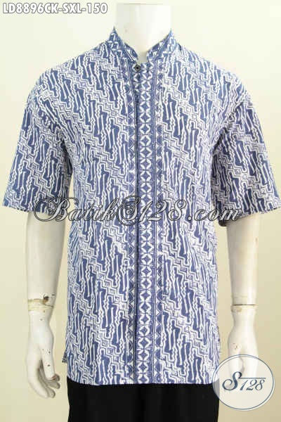 Jual Baju Batik Kerah Shanghai Pria Muda, Pakaian Batik Gaul Keren Dan Modis Proses Cap Model Lengan Pendek Harga 150 Ribu [LD8896CK-S]
