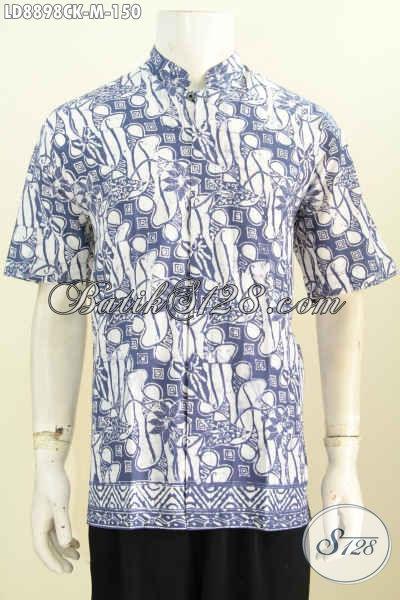Sedia Baju Batik Hem Keren Model Kerah Shanghai, Busana Batik Istimewa Untuk Kerja Dan Acara Resmi Harga 150K, Size M