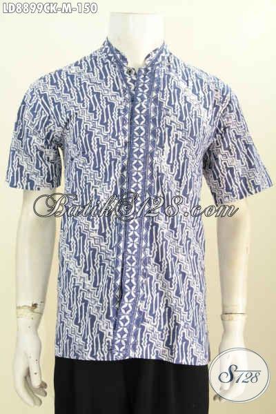 Baju Batik Lebaran 2017, Busana Batik Halus Keren Lengan Pendek Kerah Shanghai, Penampilan Lebih Elegan, Size M