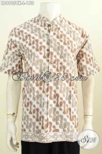 Koleksi Baju Batik Pria Modern, Hem Batik Kerja Kerah Shanghai Lengan Pendek Halus Proses Cap Hanya 150 Ribu [LD8905CK-L]