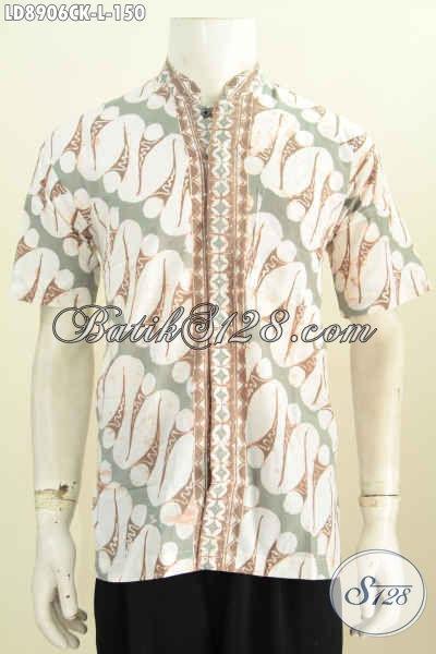 Batik Hem Koko Lengan Pendek Elegan Koleksi Terbaru Pakaian Pria Masa Kini, Berbahan Halus Motif Klasik Proses Cap, Asli Buatan Solo [LD8906CK-L]