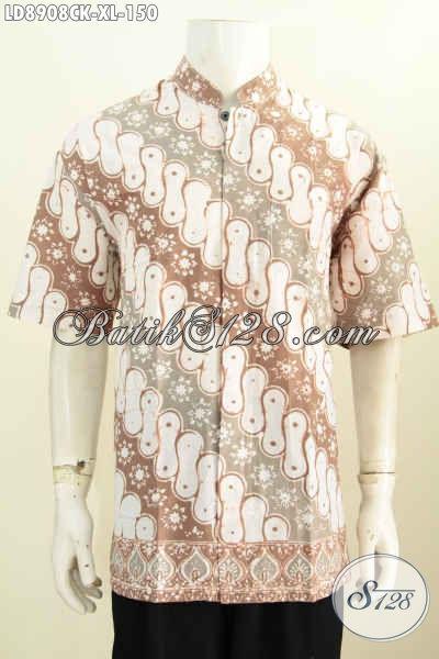 Sedia Kemeja Batik Jawa Tengah Istimewa, Pakaian Batik Lengan Pendek Kerah Shanghai Pas Buat Ramadhan Dan Lebaran, Size XL