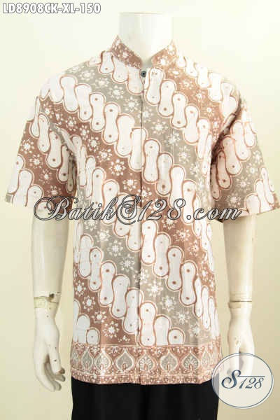Hem Batik Koko Lengan Pendek Size XL, Pakaian Batik Santai Motif Klasik Proses Cap Harga 150K