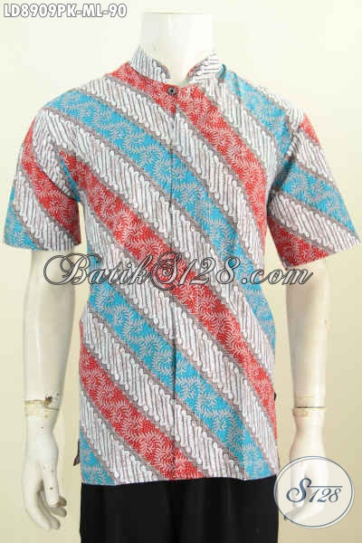 Jual Online Batik Kemeja Lengan Pendek Halus Proses Printing Tulis Motif Klasik Model Kerah Shanghai, Size M – L