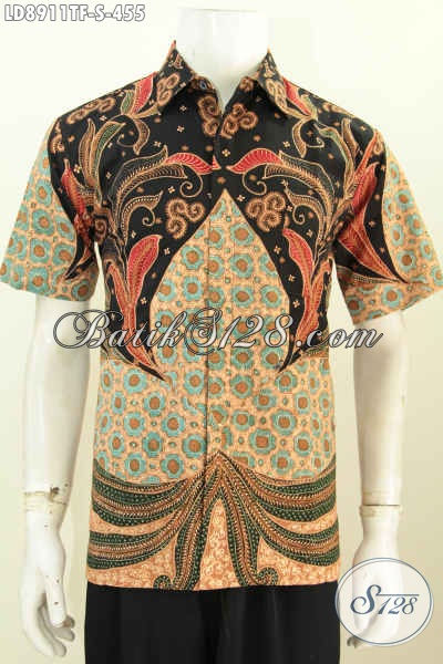 Baju Hem Solo Elegan Mewah Bahan Batik Tulis, Pakaian Batik Full Furing Lengan Pendek Harga 400 Ribuan, PAs Untuk Baju Kerja [LD8911TF-S]