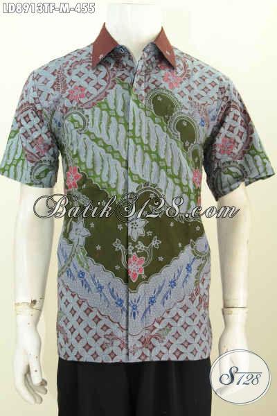 Jual Batik Hem Solo Lengan Pendek Full Furing Motif Klasik Bahan Adem Proses Tulis, Penampilan Lebih Gagah, Size M