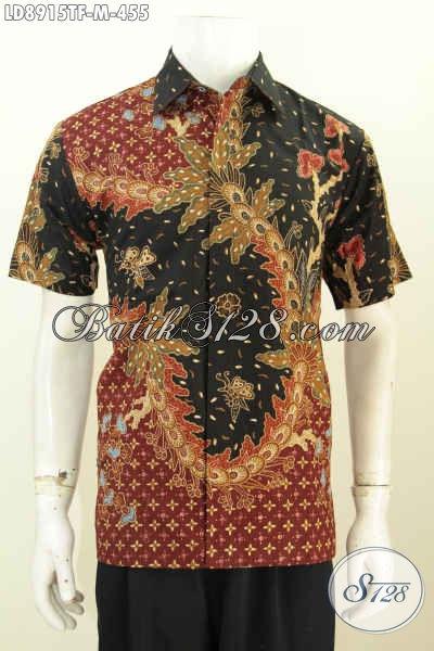 Hem Batik Bagus Lengan Pendek, Kemeja Batik Premium Full Furing Mewah 400 Ribuan Spesial Untuk Pria Muda, Size M