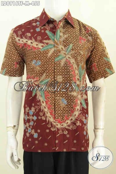 Pakaian Batik Keren Modis, Model Baju Batik Gaul Terkini, Busana Batik Berkelas Yang Cocok Untuk Santai Dan Kerja Proses Tulis Lengan Pendek Pake Furing [LD8916TF-M]