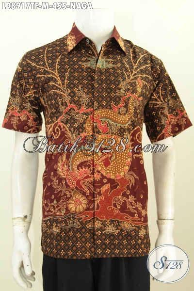 Hem Batik Lengan Pendek Motif Naga Proses Tulis, Busana Batik Pria Muda Full Furing Penampilan Lebih Macho [LD8917TF-M]