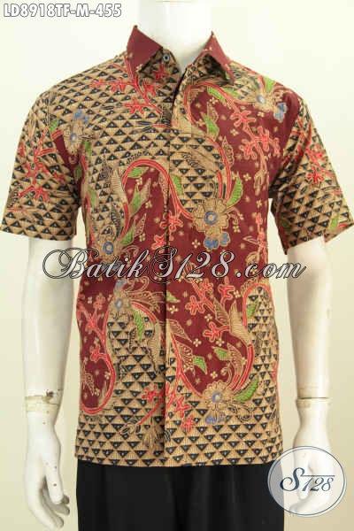 Jual Kemeja Batik Solo Modern, Hem Batik Keren Terbaru, Busana Batik Mewah Full Furing Lengan Pendek Motif Klasik Tulis Asli, Size M
