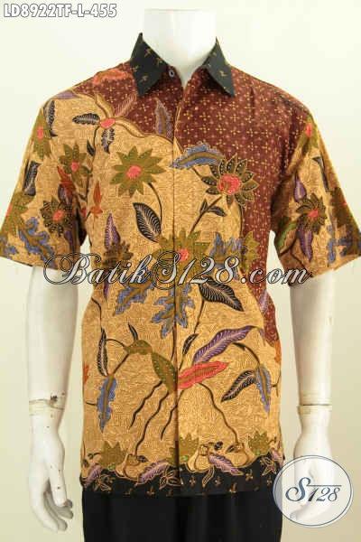 Baju Batik Pria 400 Ribuan, Hem Lengan Pendek Mewah Full Furing Motif Bagus Tulis Asli, Cocok Untuk Acara Resmi [LD8922TF-L]