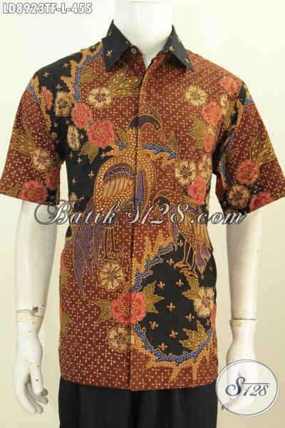 Model Baju Batik Pria Slim Fit, Kemeja Lengan Pendek Premium Full Furing Halus Motif Terkini Tulis Asli Harga 455K [LD8923TF-L]