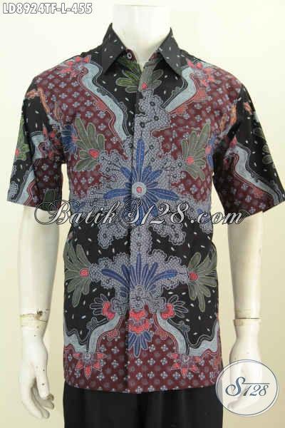 Baju Batik Keren Lengan Pendek Motif Mewah, Busana Batik Trend Motif 2017 Tulis Asli 400 Ribuan, Size L