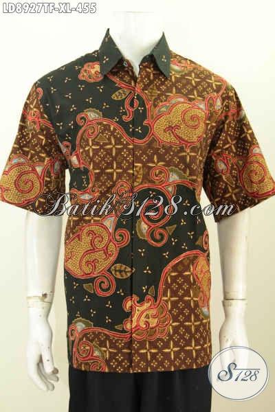 Olshop Baju Batik Solo Keren, Sedia Baju Batik  Premium Lengan Pendek Full Furing Untuk Penampilan Lebih Sempurna, Size XL