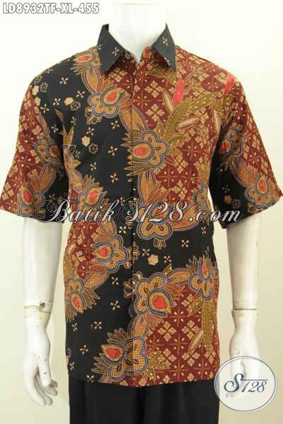 Jual Batik Hem Keren Lengan Pendek Ukuran XL, Pakaian Batik Solo Halus Full Furing Untuk Kerja Dan Pesta