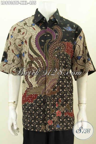 Bati Hem Mewah Elegan Size XXL, Kemeja Batik Solo Lengan Pendek Motif Bagus Proses Tulis 400 Ribuan