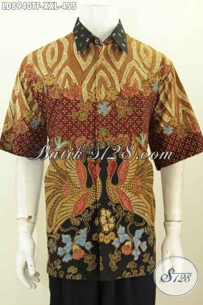 Toko Baju Batik Online, Sedia Kemeja Lengan Pendek Mewah Untuk Pria Gemuk Bahan Halus Proses Tulis Daleman Full Furing 455K [LD8940TF-XXL]
