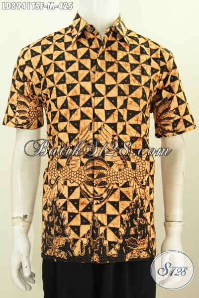 Baju Batik Tulis Soga Lengan Pendek Full Furing, Kemeja Batik Solo Asli Kwalitas Bagus Harga 425K, Size M
