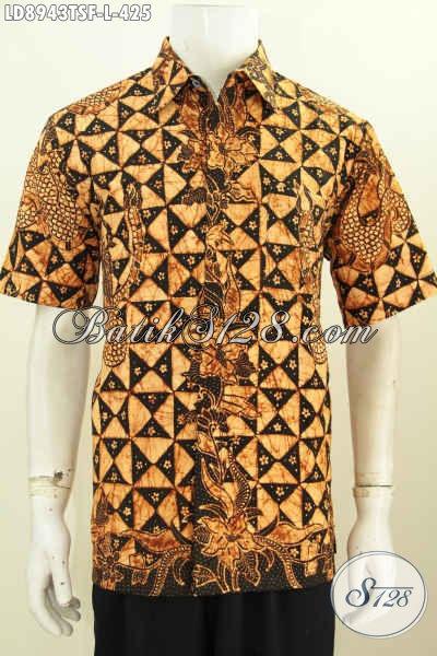 Batik Hem Tulis Soga Halus Lengan Pendek Size L, Pakaian Batik Full Furing Bikin Lelaki Terlihat Ganteng Maksimal [LD8943TSF-L]
