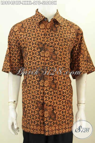 Batik Hem Klasik Motif Slobok, Kemeja Lengan Pendek Big Size Proses Cap Tuis Full Furing, Istimewa Untuk Acara Formal [LD8945CTF-XXXL]
