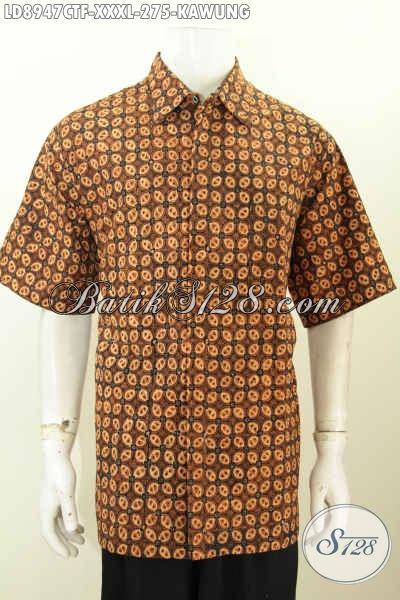 Baju Batik Modis Elegan Motif Kawung, Pakaian Batik Solo Kwalitas Premium Pake Furing Proses Cap Tulis Size XXXL Harga 275K
