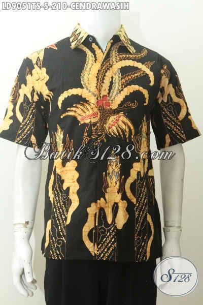 Baju Batik Pria Kantoran, Hem Batik Lengan Pendek Modis Kwalitas Bagus Proses Tulis Soga, Tampil Lebih Tampan [LD9051TS-S]