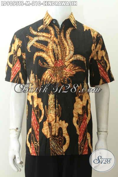 Batik Hem Keren Istimewa Lengan Pendek Proses Tulis Soga Motif Cendrawasih, Pakaian Batik Untuk Santai Dan Resmi, Size M