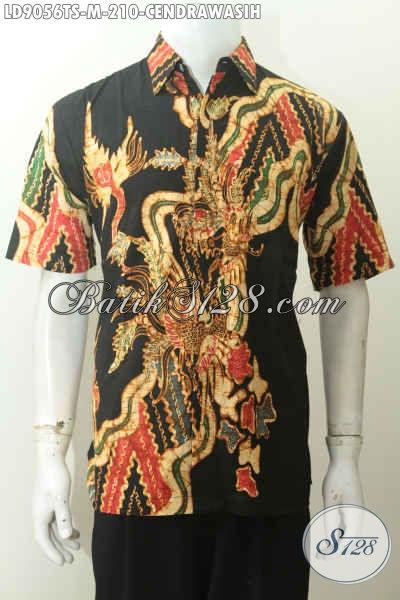 Batik Hem Modis Dan Keren Yang Bikin Pria Telihat Gagah Dan Trendy, Baju Batik Lengan Pendek Motif Cendrawasih Proses Tulis Soga, Pas Untuk Kerja [LD9056TS-M]