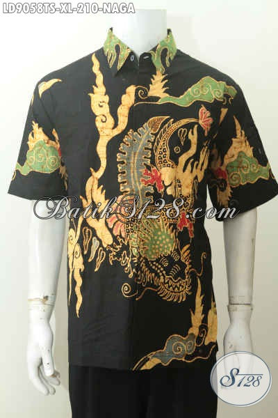 Baju Batik Hem Lengan Pendek Size XL, Kemeja Batik Tulsi Soga Mewah Full Furing, Bikin Penampilan Sempurna