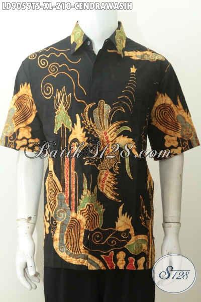 Batik Hem Lengan Pendek Pria Dewasa Full Furing Motif Burung Cendrawasih Kwalitas Istimewa 200 Ribuan Saja, Size XL