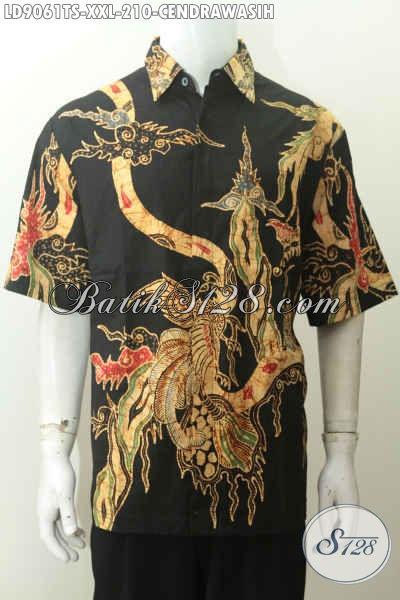 Busana Batik Kerja Pria Gemuk, Hem Batik Big Size Nan Istimewa Proses Tulis Soga Motif Burung Cendrawasih, Tampil Lebih Gagah [LD9061TS-XXL]
