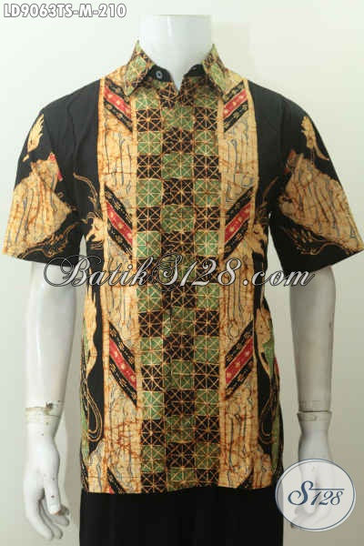 Harga Baju Batik Pria Terbaru, Hem Batik Elegan Lengan Pendek Tulis Soga Motif Terkini Hanya 210K [LD9063TS-M]