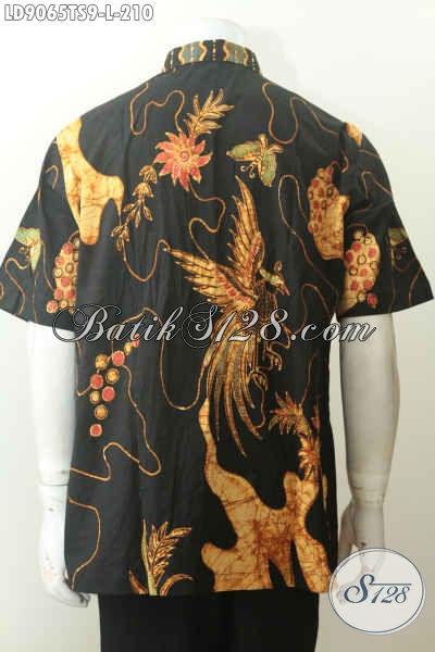 Jual Pakaian Batik Lengan Pendek Istimewa, Hem Batik Kerja Pria Kantoran Motif Bagus Tulis Soga 200 Ribuan Saja [LD9065TS-L]