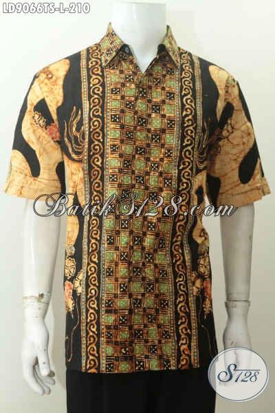 Batik Hem Solo Halus Kwalitas Premium, Kemeja Batik Masa Kini Yang Bikin Pria Tampil Gagah Mempesona Proses Tulis Soga Model Lengan Pendek [LD9066TS-L]