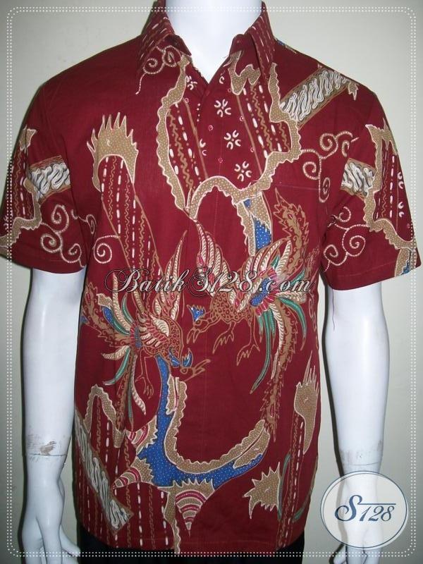 Kemeja Batik Merah Motif Burung Cendrawasih Size M, Batik Tulis Pria Modern [LD906T-M]