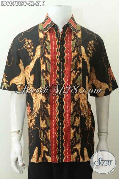 Update Harga Baju Batik Pria Lengan Pendek, Busana Batik Kerja Istimewa Proses Tulis Soga Motif Terkini Hanya 210K [LD9070TS-XL]