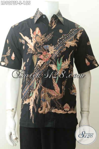 Baju Batik Tulis Warna Hitam Motif Keren Minimalis, Size S Harga 155K