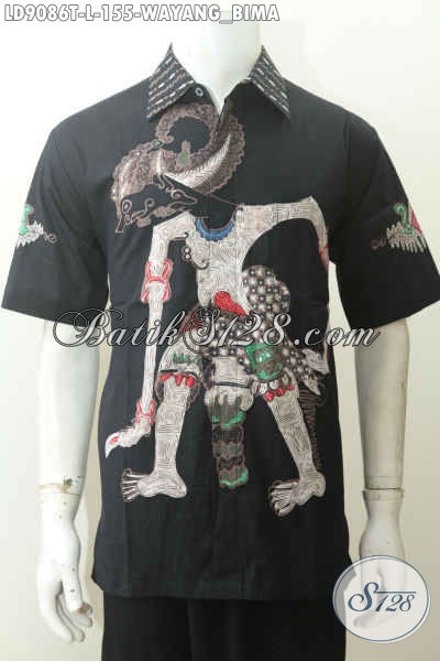 Jenis Model Baju Batik Pria Terbaru, Kemeja Lengan Pendek Tulis Motif Wayang Bima Yang Bikin Pria Terlihat Gagah Mempesona [LD9086T-L]