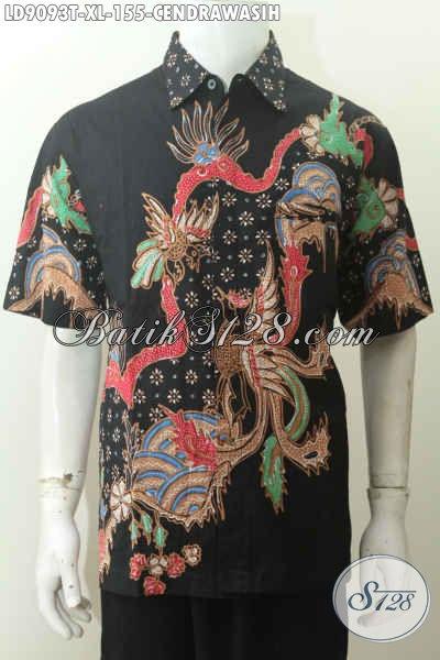 Jual Baju Batik Pria Gaul, Hem Lengan Pendek Tulis Motif Burung Cendrawasih Harga 155K, Tampil Makin Bergaya [LD9093T-XL]