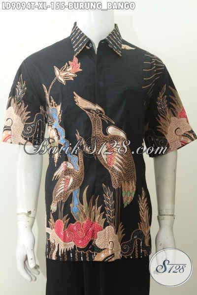 Hem Batik Tulis Lengan Pendek Motif Bango, Katun Tanpa Furing Size XL