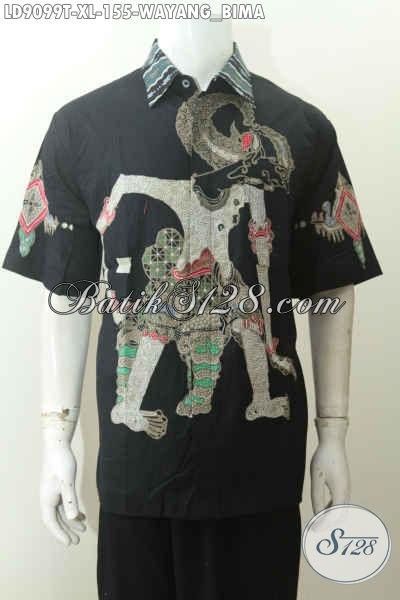 Batik Hem Wayang Bima, Kemeja Batik Untuk Tampil Gagah Mempesona Mode Lengan Pendek Proses Tulis Hanya 100 Ribuan Saja [LD9099T-XL]