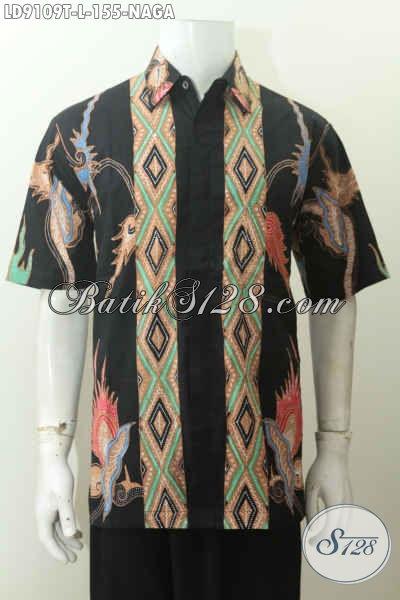 Sedia Batik Hem Motif Naga, Pakaian Batik Modern Istimewa Buatan Solo Lengan Pendek Proses Tulis, Bisa Untuk Hangout [LD9109T-L]