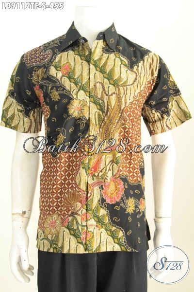 Batik Hem Solo Lengan Pendek Seragam Kerja Keren Dan Berkelas, Baju Batik Tulis Full Furing, Penampilan Lebih Mewah [LD9112TF-S]