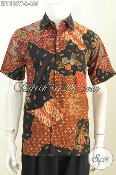 Jual Baju Batik Pria Anak Muda, Kemeja Lengan Pendek Full Furing Motif Bagus Proses Tulis, Tampil Lebih Macho [LD9113TF-S]