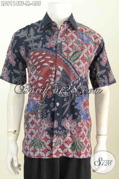 Toko Baju Batik Paling Komplit, Sedia Kemeja Lengan Pendek Premium Motif Bagus Bahan Halus Daleman Pake Furing 455K [LD9114TF-M]